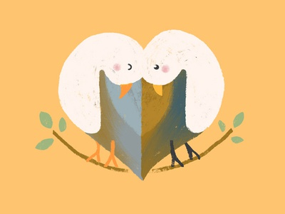 Couple of doves shape cute love yellow heart mascot animals pidgeon bird dove animal colorful design cartoon icon character illustration flat minimal simple