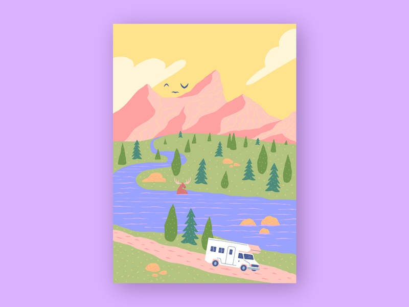 Ludic Landscape pastel warm poster art nature illustration vacation vector art trip tree nature travel landscape colorful color print poster illustration flat minimal simple