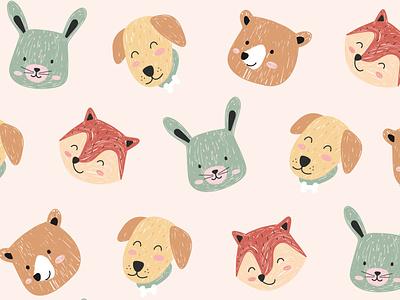 Cute pattern animals character pattern bear bunny puppy fox animal cute kids baby mascot cartoon illustration flat minimal simple