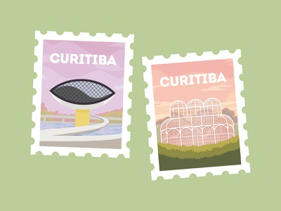 Curitiba Postal poster curitiba traveling trip travel city illustration city architecture postcard postal post seal colorful design icon vector illustration flat minimal simple