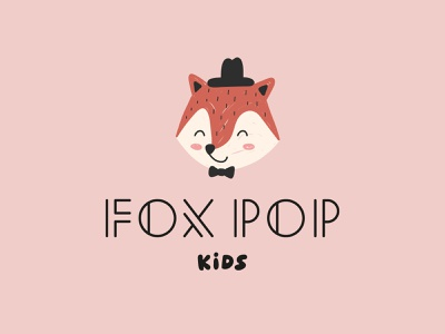 Fox Pop Kids fox logo animal visual identity typogaphy baby fox mascot logo mark mascot logotype typography logo cartoon design icon branding illustration flat minimal simple