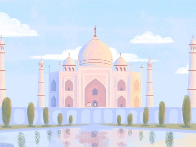 India illustrations environment website sunset tajmahal dreamy colorful landscapes abstract india artwork art digital painting nature illustration nature calm landscape illustration flat minimal simple