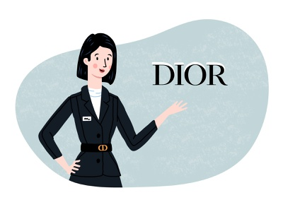 Parfums Christian Dior - App illustration flat illustration minimalist ui illustration illustrator vector illustration woman illustration perfume dior beauty fancy cartoon web character vector ui ux illustration flat minimal simple