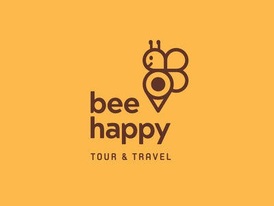 Bee Happy Tour & Travel fun simple logo minimalist animals pin logos mascot tour yellow bee animal mark logo icon branding vector flat minimal simple