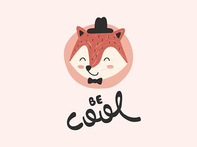 Be cool - Fox Pop Kids pink cute fun mascot animal kid baby lettering fox illustrator sticker mark icon cartoon colorful vector illustration flat minimal simple