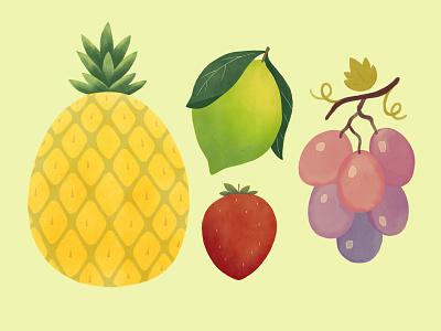 Fruit illustration set minimalist minimal grape fruit illustration strawberry lemon pineapple food illustration food fruits fruit illustration flat simple
