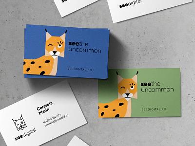 See Digital | Business Cards print design geometric romania millenial lynx mascot animal graphic design visual identity card business card branding logo design illustration flat minimal simple