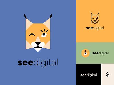 See Digital logotype concept digital geometry icon mascot lynx visual identity brand graphic design branding logo design vector illustration flat minimal simple