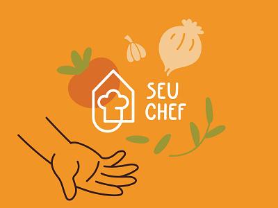 Seu Chef - Delivery Restaurant icon mark brand identity restaurant food illustration food delivery branding logo design vector illustration flat minimal simple