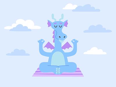 Meditate Dragon child cute dragon sky blue calm meditation mindfulness yoga branding design ui ux vector illustration flat minimal simple
