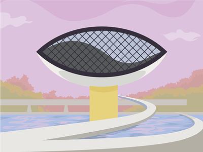Curitiba Oscar Niemeyer Museum vector tourism poster postal card purple illustration green flat colorful brazil eye archictecture