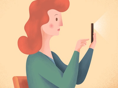 Illustration for HelpMe App - Preview1 subway redhair picture iu ux digital paint character warm flat smartphone woman