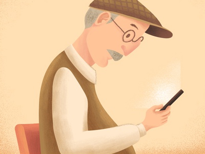Illustration for HelpMe App - Preview2 glass man old man woman smartphone flat warm character digital paint ux iu subway
