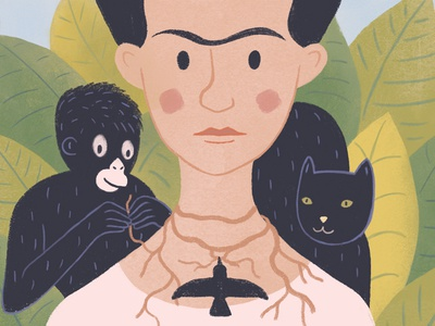 Frida Kahlo monkey cat portrait illustration cute art mexican kahlo frida frida kahlo fridakahlo woman colorful digital art digital paint ui character draw illustration simple minimal flat