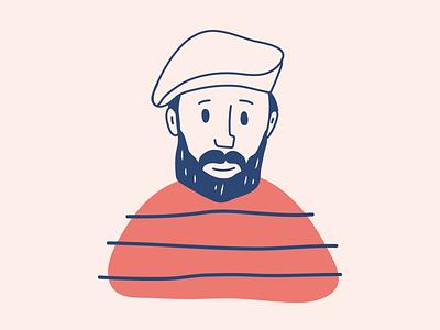 bearded man french cartoon character cartoon design cartoon man cartoon man bearded man beard website animation web app character vector illustration ui ux flat simple minimal