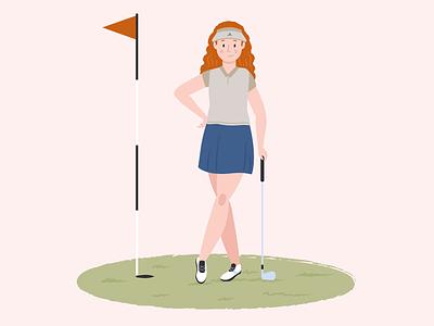 Woman Golfer colorful app illustration golfer golf woman illustration woman character design sport app sport website animation web app character illustration ui ux flat simple minimal