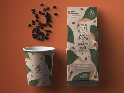 Coffee packaging design pattern design pattern embalagem visual identity mascot lettering mockup coffee bean leaf packaging package coffee shop coffee coffe packaging design package design pack cat branding illustration