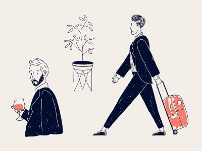 traveller businessman illustration luxury line pen and ink cartoons old cartoon cartoon illustration cartoon black  white lineart linework sketch male character hotel character vector illustration ux flat minimal simple