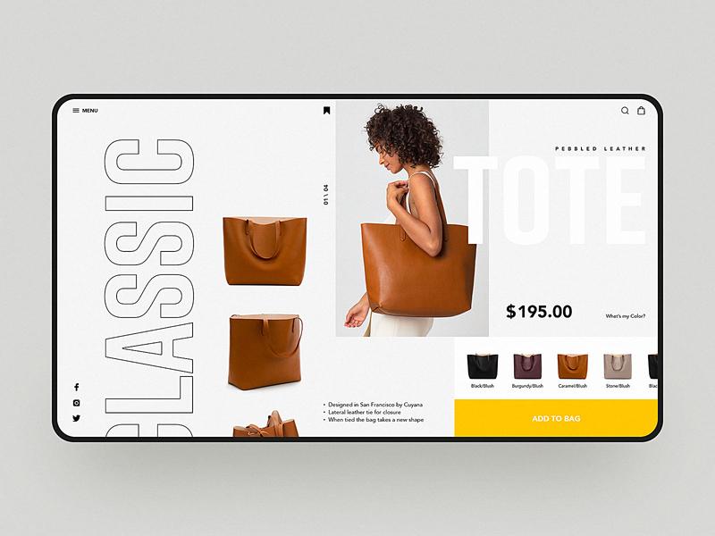 Bag Store Web Design bag store visual simple web web design fashion design e-commerce