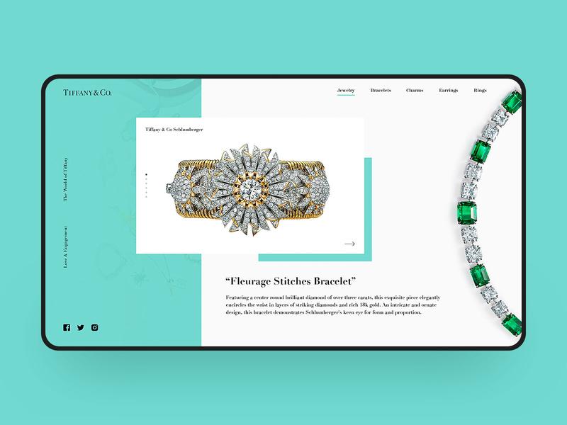 Tiffany Web Design diamond jewelry tiffany blue visual simple web design web fashion e-commerce design tiffany