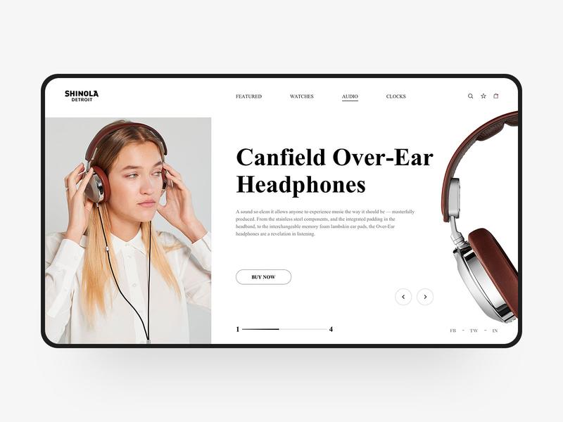 Headphones Web Design shinola headset headphones color simple visual fashion web design web e-commerce design