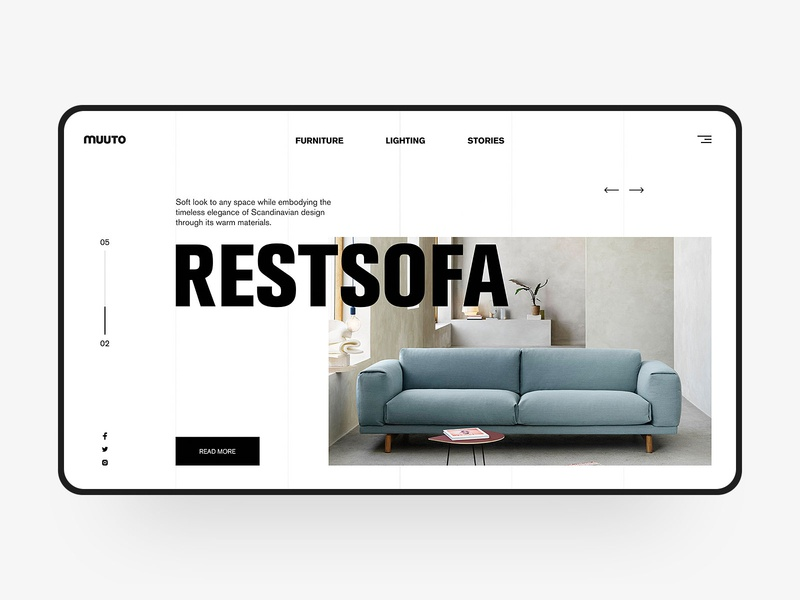 Furniture sofa Web Design rest sofa furniture chair furniture website web design fashion simple blue design muuto