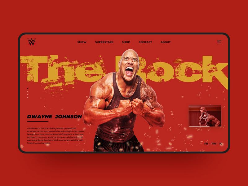 The Rock WWE Web Design the rock red social media sport web sport wwe color visual web simple web design design