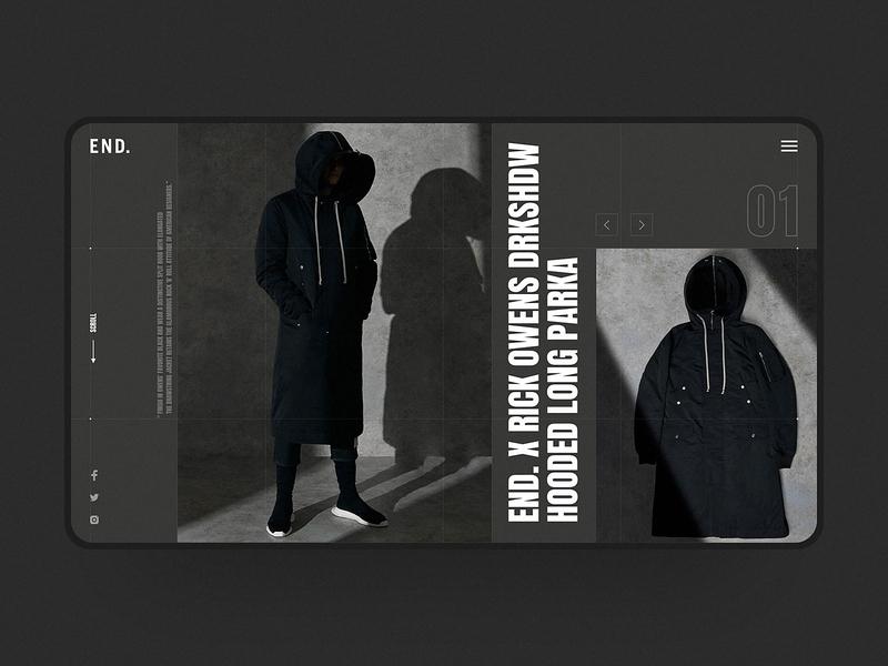 Rick Owens DRKSHDW x End. Web Design clothing visual design ux ui fashion brand dark ui dark end e-commerce visual web fashion web design simple design