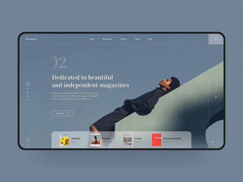 Magazines store web design ui blue color e-commerce visual web design web design fashion simple