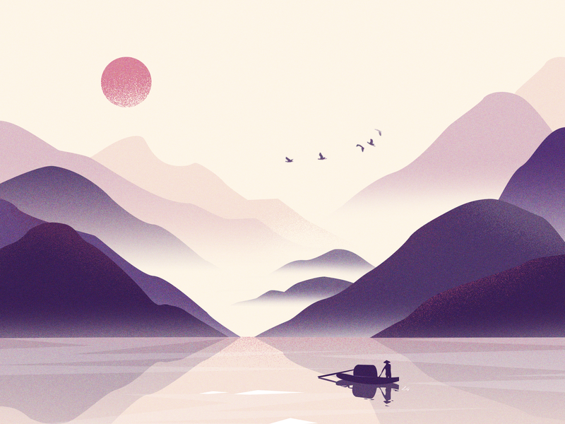 Landscape artistic conception 插图 风景 设计 ui