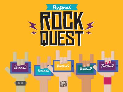 Rock Quest concept logo rock