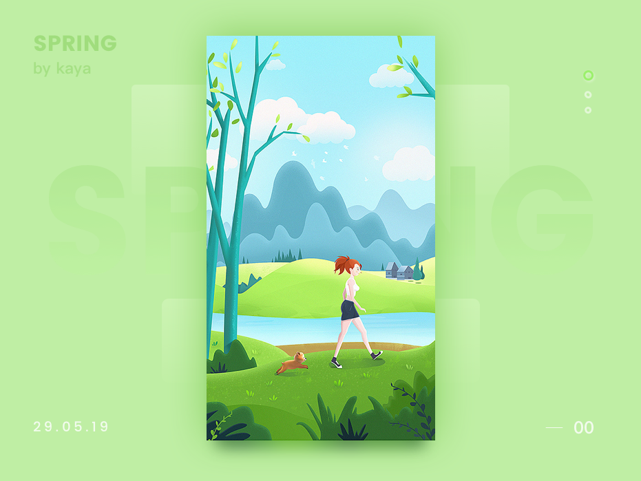 Spring seasons park woman girl visual image icons illustration design animals