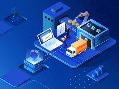 Warehousing workers transport data vector dashboard truck warehousing isometric c4d 3d illustration