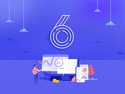 6 ui type number illustration design 6