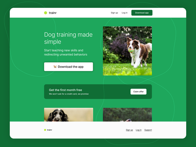 Dream No. 3: Trainr Landing Page + Template download free template template free landing page dog training dog ui startup product design design concept design