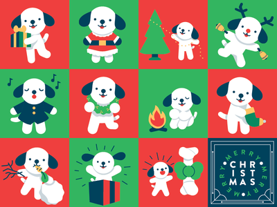 2017 Gift Tags illustration dogs christmas