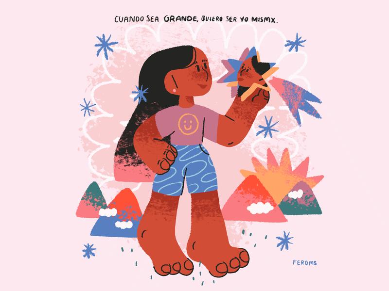 ✨Cuando sea grande, quiero ser yo mismx ✨ ilustradora ilustración photoshop girl illustration illustration