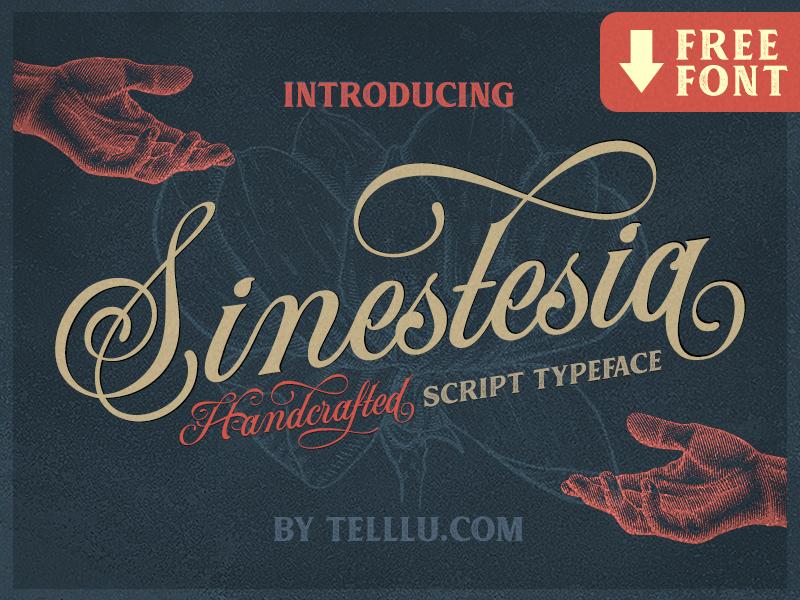 Sinestesia Script Font Freebie calligraphy typography retro vintage logotype typeface lettering script download freebie free font