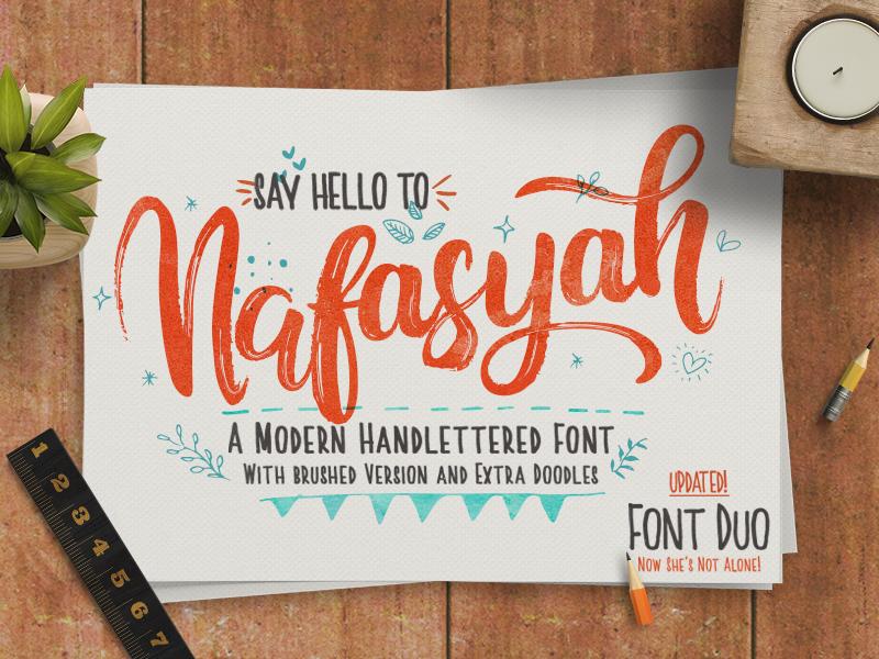 Nafasyah Font Duo creativemarket lettering font duo cursive wedding calligraphy brush pen brush script typeface handmade handwriting handletter ttf otf download freebies font