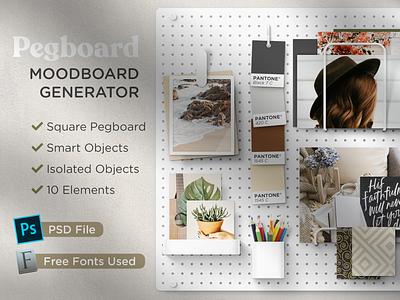 Pegboard - Moodboard Scene Generator pantone template instagram moodboard download mockup builder psd generator scene pegboard