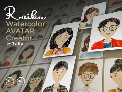 Raiku - Watercolor Avatar Creator about us team handmade illustration identity watercolor valentine wedding portrait character avatar