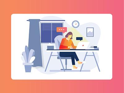 Working overtime from home debut ux branding designer flat design vector illustration ovetime from home work