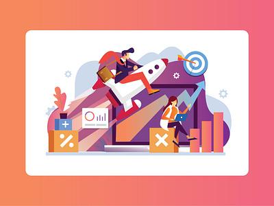 Marketing Research and Sales Chart rockets sales marketing market designer design ux vector branding illustration