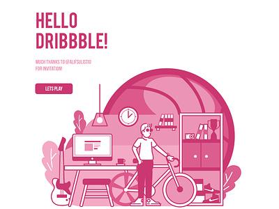 Hello Dribble Shot! vector illustration vector webdeisgn design ux ui illustration hellodribbble first shot dribble debut