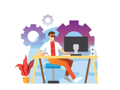 Graphic Designer vector art website web flat design illustration ux ui branding designer graphic vector flat