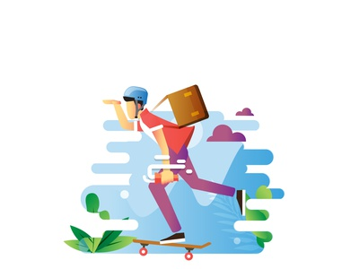 Fast Worker skateboarding skater ux hellodribbble flat design flat dribble designer design branding vector illustration