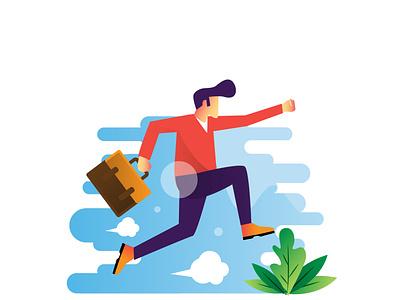jumping bussiness man people illustration people ux ui branding flat design dribble vector illustration