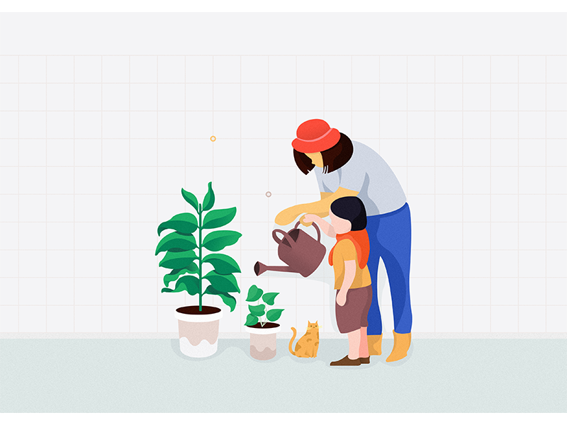 Watering flowers clean color home apple web ui payment internet chart banking isometric illustration