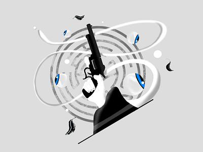 Westworld eye hat artwork design sketch drawing procreate gun westworld illustration hand
