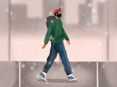 Daily Walks explore environment drawing character procreate seattle design illustration walking